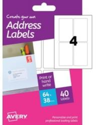 Etichette bianche per buste -stampanti Laser e Inkjet -38x64mm -10ff