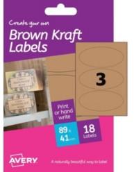Etichette effetto cartone -ovali - stampanti Inkjet -41x89mm  -6ff