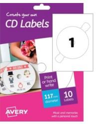 Etichette con foro largo per CD - stampanti Inkjet - d.117 - 10ff