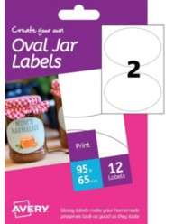 Etichette glossy per barattoli - stampanti Inkjet - ovali -95x65mm- 6ff