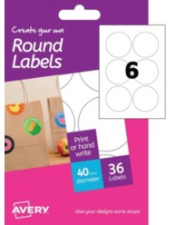 Etichette bianche rotonde - stampanti Laser a colori - Ø 40 -6 ff