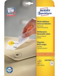 Etichette rimovibili ecologiche, certificate FSC -    stampanti Laser - 63,5 x 46,6- 25 ff