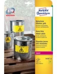 Etichette gialle in poliestere - stampanti Laser, Laser a colori - dim  63,5 x 29,6 -  20ff
