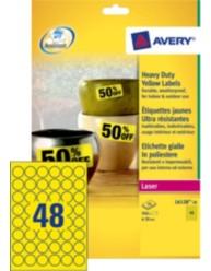 Etichette gialle in poliestere, Ø 30 mm, stampanti Laser