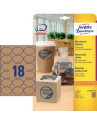 Brown Kraft Product Labels, oval, 63,5 x 42,3 mm