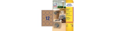 Brown Kraft Product Labels, round, Ø 60 mm