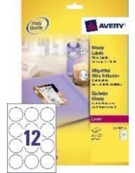 Etichette Glossy rotonde -  Ø60- 12 etichette per foglio
