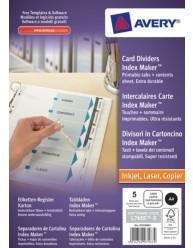 Divisori Index Maker, 5 tasti personalizzabili con etichette trasparenti