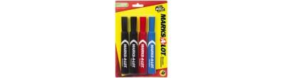 MARKS-A-LOT, Marcador Permanente 07905 , Standard, Cincel, Negro, Azul, Rojo, 4PK