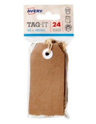 Kraft Brown Tag-It with String, 24/Pack, 96 x 48mm