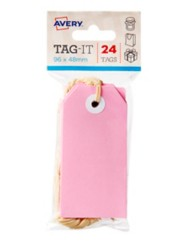 Pink Tag-It with String, 24/Pack, 96 x 48mm