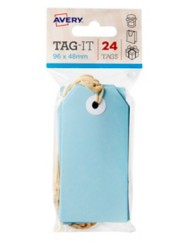 Blue Tag-It with String, 24/Pack, 96 x 48mm