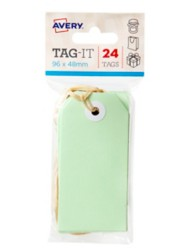 Green Tag-It with String, 24/Pack, 96 x 48mm