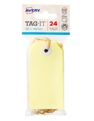 Yellow Tag-It with String, 24/Pack, 96 x 48mm