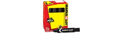 MARKS-A-LOT, Marcador Permanente 24148 , JUMBO, Cincel, Negro, 12PK