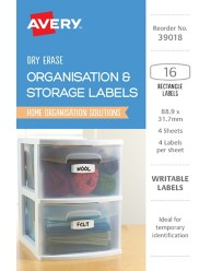 White with Blue Details, Rectangle Removable Dry Erase Labels 39018