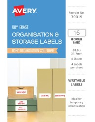 Rectangle Removable Dry Erase Labels 39019
