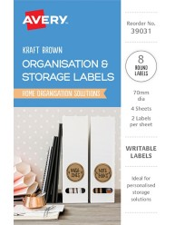 Organisation & Storage, Brown Kraft Home Organisation Labels