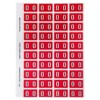 Numeric '0' Side Tab Colour Coding Labels, 25 x 42 mm, 240/Pack