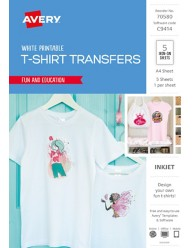 Inspired™ White T-Shirt Transfers, 5/Pack