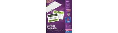 Gafetes Avery® 74553 , Fold&Clip, Broche Caimán, Laser/InkJet, 30PK