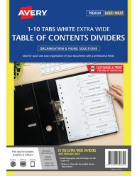 White Extra Wide Polypropylene Dividers