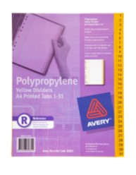 Yellow Polypropylene Dividers