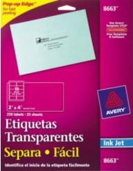 etiquetas de envío etiqueta avery 8663 transparente permanente