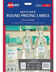 Matte White Round Pricing Labels, 192/pack