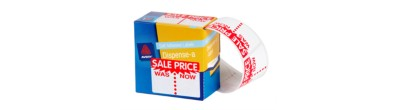 Pre-printed Dispenser Labels, 'Sale Was/Now', 63 x 44 mm, 400/Pack
