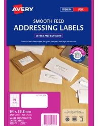 White Address Smooth Feed Labels