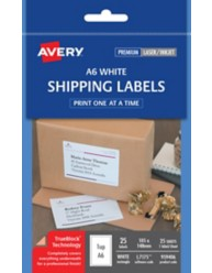 White A6 Shipping Labels, L7175