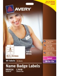 Fabric White Name Badge Labels