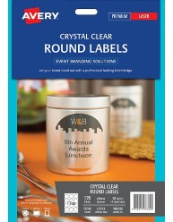 Crystal Clear Round Labels, 60mm dia