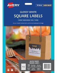 Glossy White Square Labels, 45 x 45mm