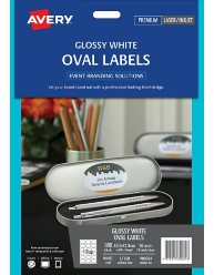 Glossy White Oval Labels, 63.5 x 42.3mm