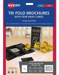 Printable Tri Fold Brochures with Tear Away Cards, 20/pack