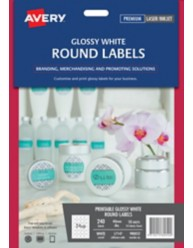 Glossy White Round Labels on lip balm container, L7147