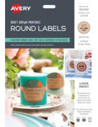 Printable Kraft Round Labels 982508,  L7274