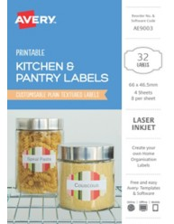 Kitchen & Pantry, Textured White Home Organisation Labels