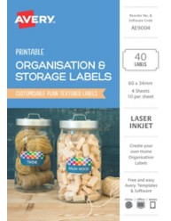 Organisation & Storage, Textured White A5 Home Organisation Labels