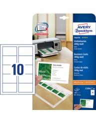 Quick&Clean™ Visitenkarten mit glatten Kanten, matt, 200 g/qm