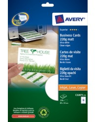 Quick & Clean™ Business cards recycled with smooth edges, bright white, 220 g/qm