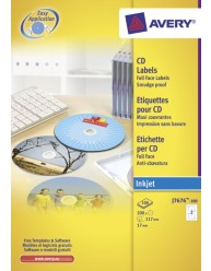 White Full Face CD/DVD Label - Inkjet