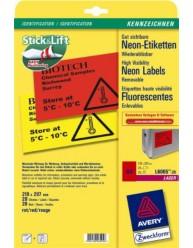 Etichette fluorescenti, rosse - 210 x 297 mm - 1 etichetta per foglio