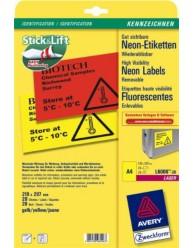 Etichette fluorescenti, gialle - 210 x 297 mm - 1 etichetta per foglio