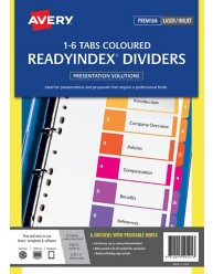 ReadyIndex Dividers 1-6 Tab