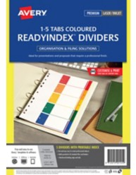 Multi-coloured Polypropylene ReadyIndex Dividers