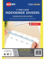 White indexmaker dividers l7455 5 for Avery easy apply 5 tab template