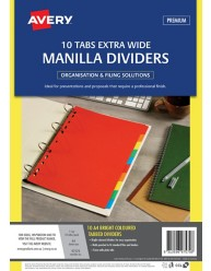 Bright Multi-coloured Manilla Dividers 10 Extra Wide Tabs